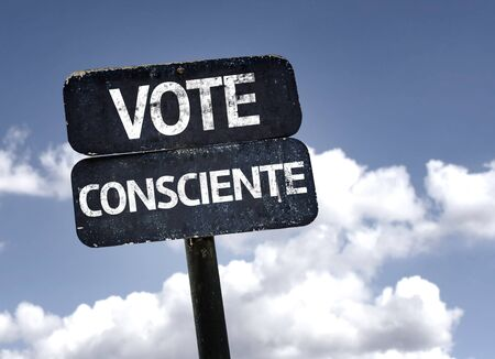 conscious: Conscious Vote in France on  sign with clouds and sky background
