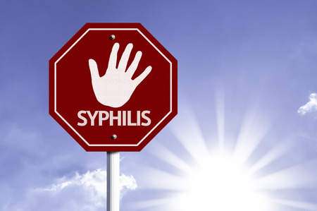 syphilis: Syphilis written on the road sign Stock Photo