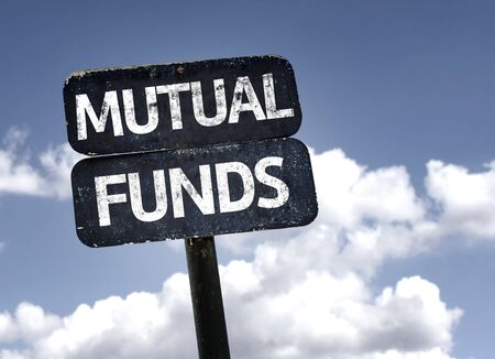mutual funds: Mutual Funds sign with clouds and sky background