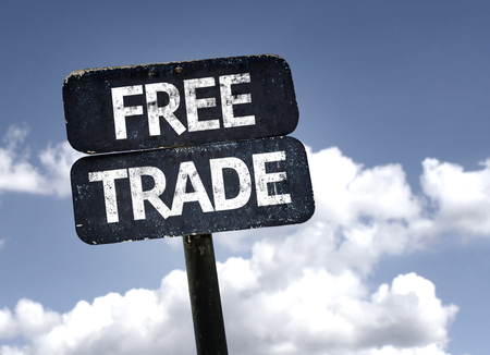 trade: Free Trade sign with clouds and sky background