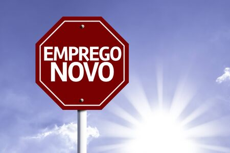 fresh graduate: New Job in Portuguese written on the road sign