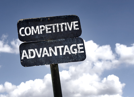 competitive advantage: Competitive Advantage sign with clouds and sky background Stock Photo
