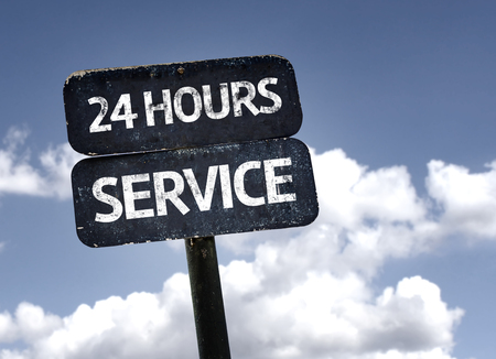 24 hours: 24 Hours Service sign with clouds and sky background