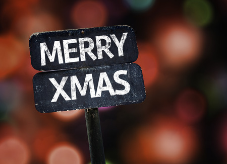 xmas background: Merry Xmas sign with bokeh background