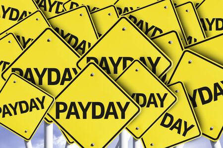 payday: Multiple road signs with text: Payday Stock Photo