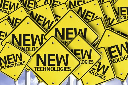 new technologies: Multiple road signs with text: New Technologies Stock Photo