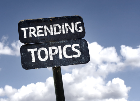 the topics: Trending Topics sign with clouds and sky background Stock Photo