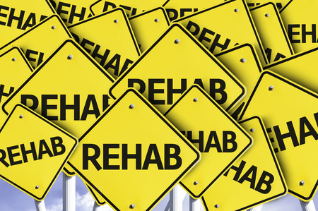 rehab: Multiple road signs with text: Rehab Stock Photo