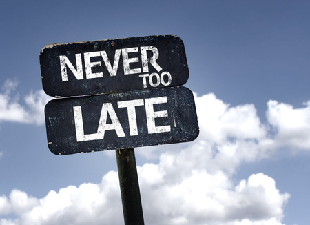 too late: Never Too Late sign with clouds and sky background