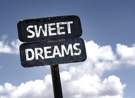 sweet dreams: Sweet Dreams sign with clouds and sky background Stock Photo