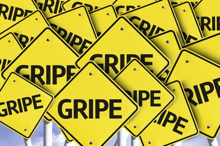gripe: Multiple road signs with text: Gripe Stock Photo