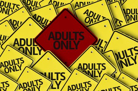 adults only: A red road sign amongst multiple road signs with text: Adults Only