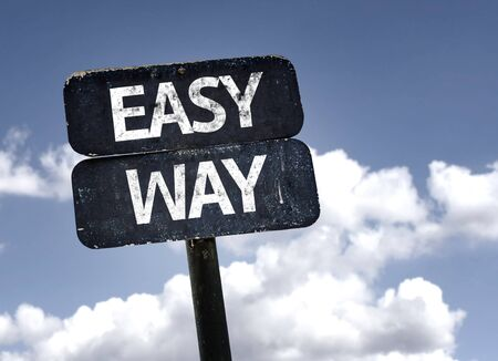 easier: Easy Way sign with clouds and sky background Stock Photo