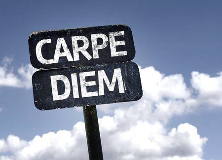 carpe diem: Carpe Diem sign with clouds and sky background Stock Photo