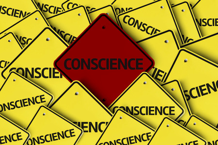 conscience: A red road sign amongst multiple road signs with text: Conscience