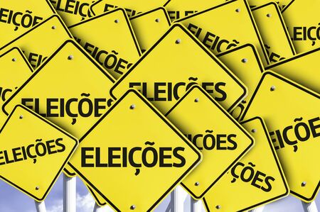 voters: Multiple road signs with text: Elections in Portuguese Stock Photo