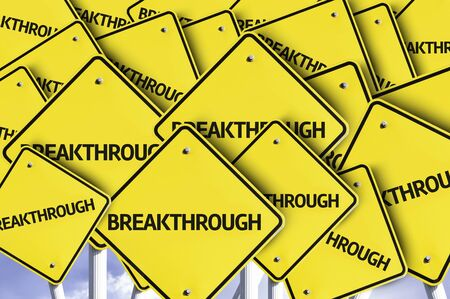breakthrough: Multiple road signs with text: Breakthrough Stock Photo