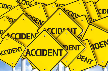 unpredictable: Multiple road signs with text: Accident