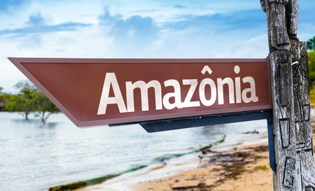 amazonia: Wooden sign board in wetland with text: Amazonia