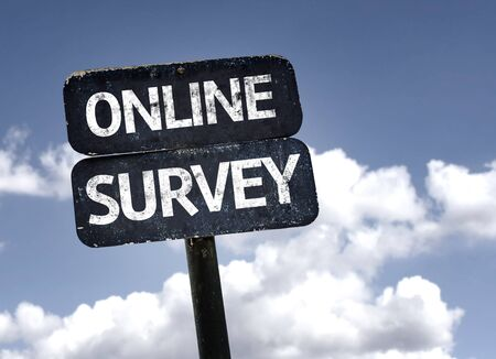 Online Survey sign with clouds and sky background