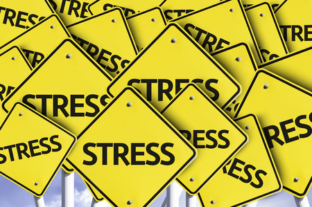 multiple: Multiple road signs with text: Stress
