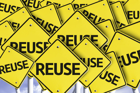 wastage: Multiple road signs with text: Reuse Stock Photo
