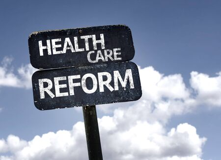 health reform: Health Care Reform sign with clouds and sky background Stock Photo