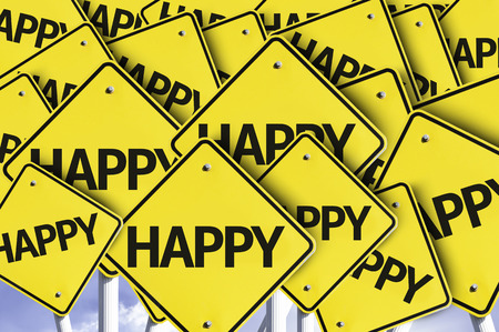 multiple: Multiple road signs with text: Happy
