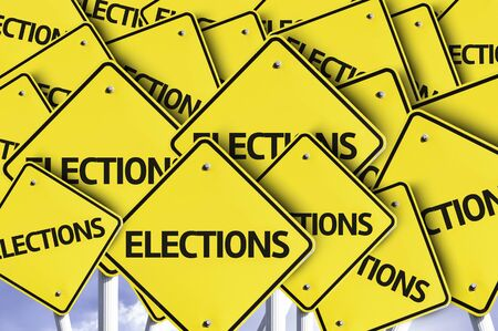 multiple: Multiple road signs with text: Elections
