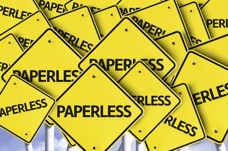 paperless: Multiple road signs with text: Paperless