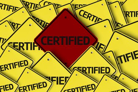 multiple: A red road sign amongst multiple road signs with text: Certified
