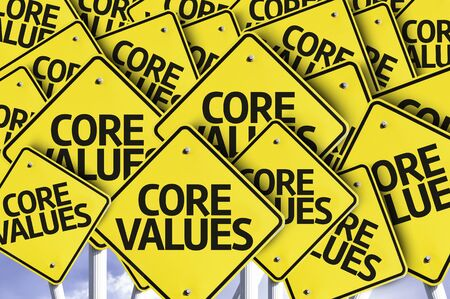 multiple: Multiple road signs with text: Core Values
