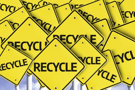 multiple: Multiple road signs with text: Recycle