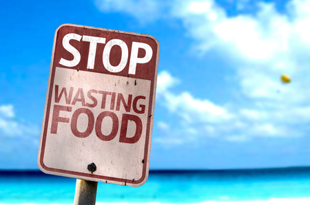 Stop Wasting Food sign with sea background Reklamní fotografie