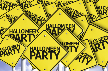 multiple: Multiple road signs with text: Halloween Party Stock Photo