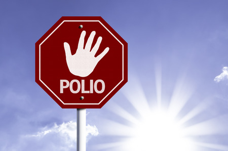 the weakening: Polio written on the road sign