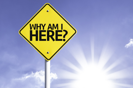 i am here: Why am I here? sign with sunny background Stock Photo
