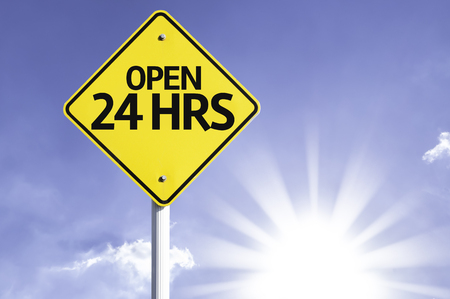 hrs: Open 24 hrs sign with sunny background