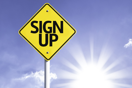 Sign up sign with sunny background