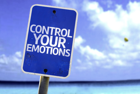 Control your emotions sign with sea background Stock Photo