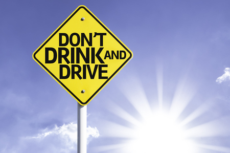 Dont drink and drive sign with sunny background