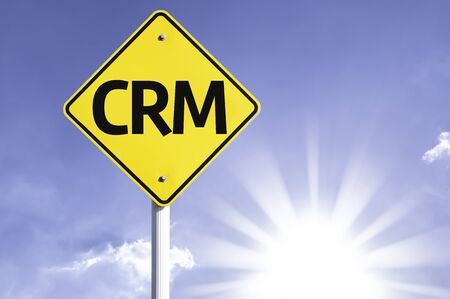 CRM sign with sunny background