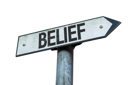belief: Belief sign on white background