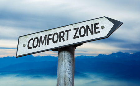 persevere: Comfort zone sign with sky background
