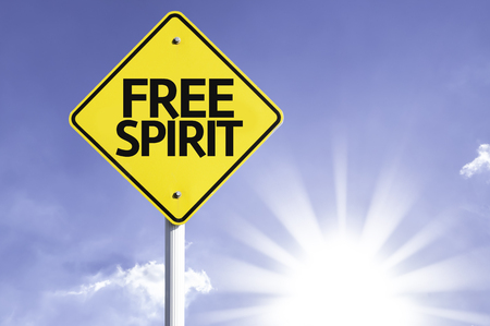 free spirit: Free spirit sign with sunny background
