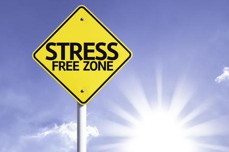 Stress-freie Zone Schild mit sonnigen Hintergrund