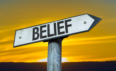 christian trust: Belief sign with sunset background