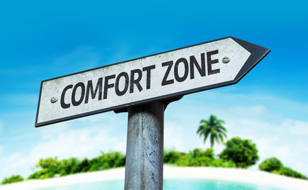 persevere: Comfort zone sign with beach background
