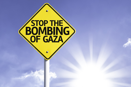 Stop the bombing of Gaza sign with sunny background Stock Photo