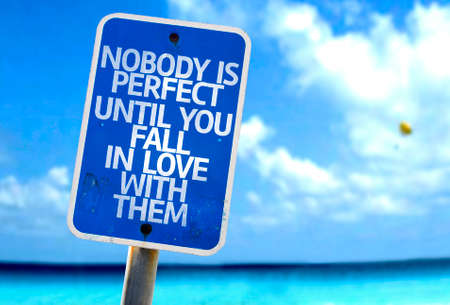 caes: Nobody is perfect until you fall in love with them sign with sea background Foto de archivo